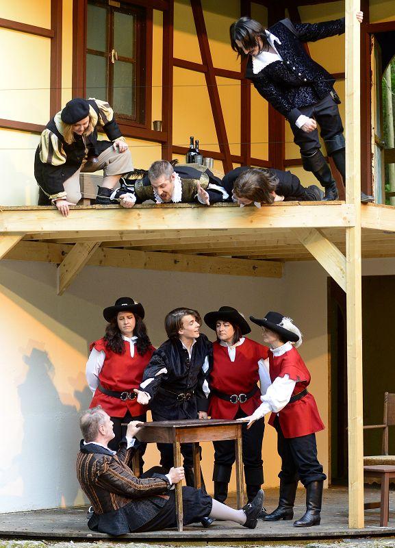 D'Artagnan (Samuel Schickler) umringt von Gardisten des Kardinals | Foto: M. Niethammer