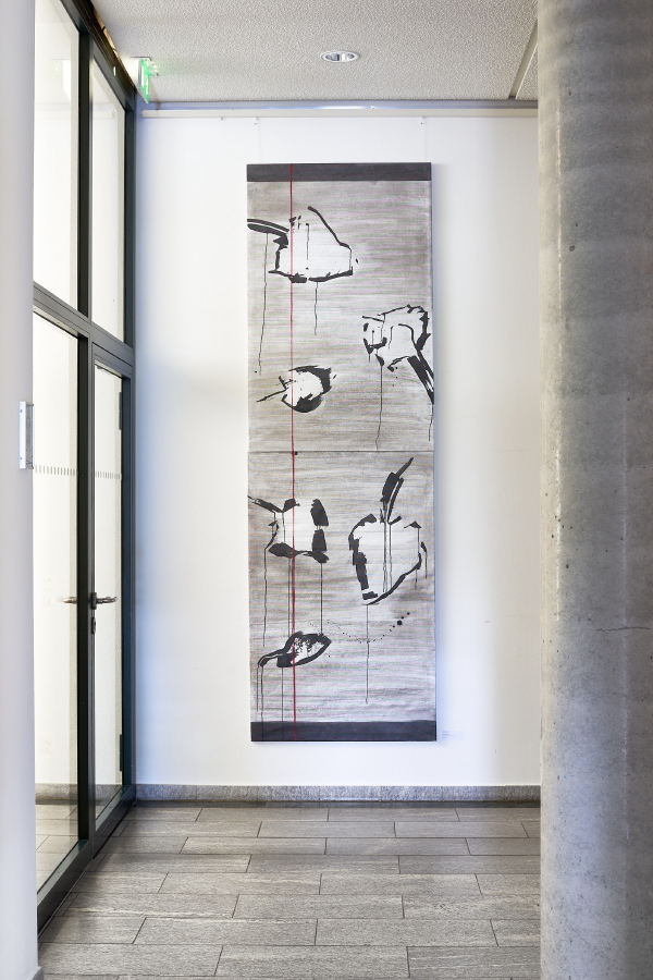 Blättergrau III+IV, 2019, 280 x 90 cm