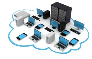 Un parc informatique composé de nombreux matériels, pc portables, smartphones, pc fixe, serveurs tablettes