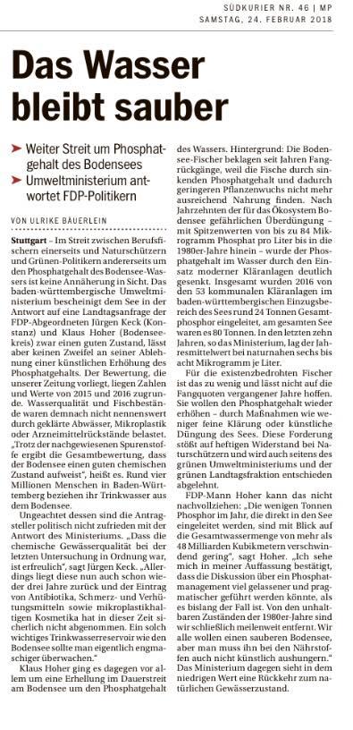 25.02.2018: Bericht des Südkurier zu unserer Anfrage im Landtag