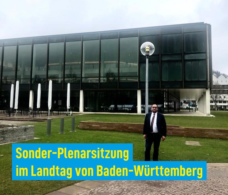 Sonder-Plenarsitzung im Landtag von Baden-Württemberg