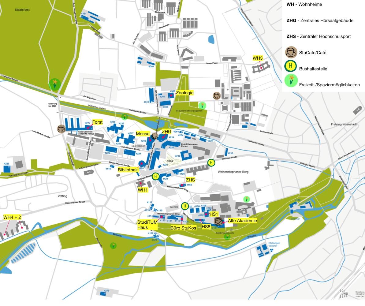 Karte vom Campus der TUM School of Lifesciences