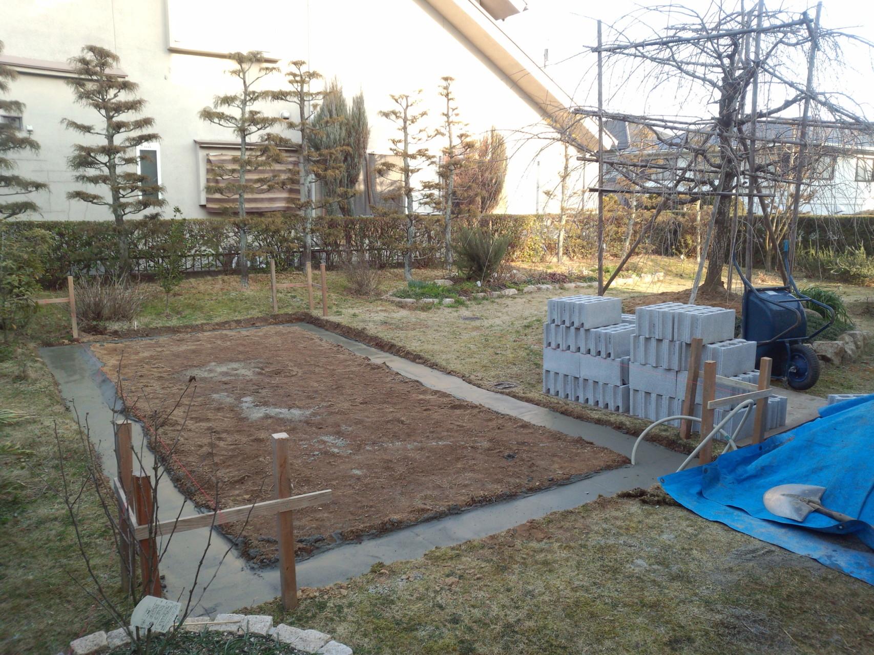 基礎工事(コンクリート) 温室新築工事@奈良県北葛城郡広陵町