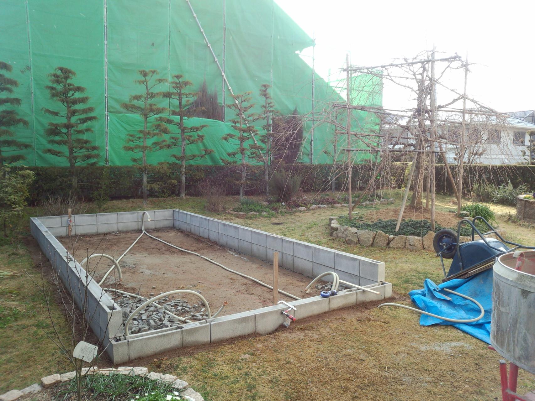 基礎工事(ブロック積) 温室新築工事@奈良県北葛城郡広陵町