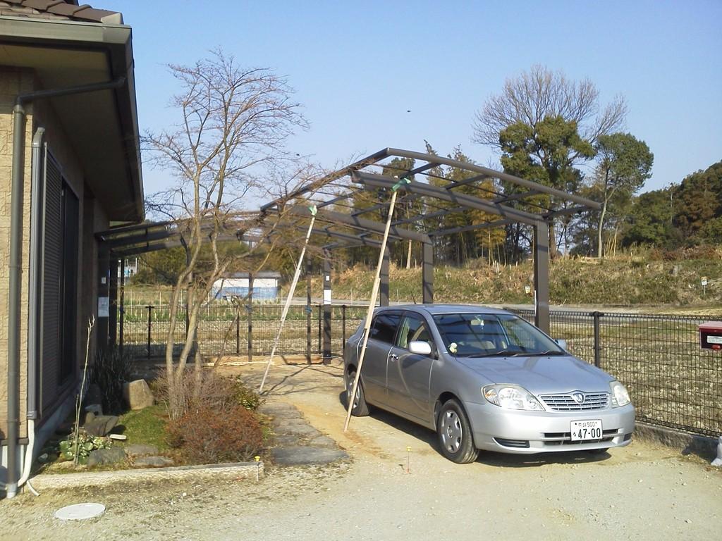 L型連棟骨組み完成 造園・外構・エクステリア工事@奈良県北葛城郡広陵町