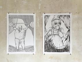Zwei Zeichnungen nach meinen Puppen, je 70 x 100 cm  Tusche auf Papier