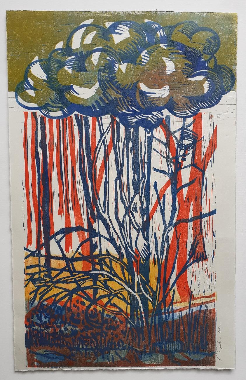 Marchant, gravure sur bois 4 couleurs
