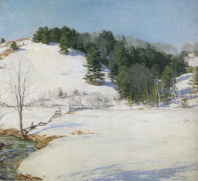 """The last snow"", Willard Metcalf (1858 – 1925). Quelle www.artnet.com"