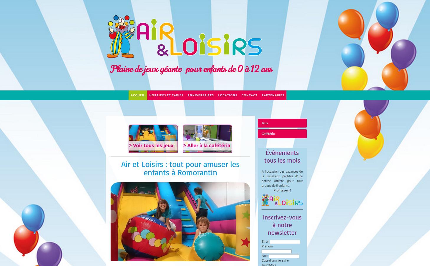 Création du site web pour Air et Loisirs, parc de jeux gonflables couvert à Romorantin, en Sologne ©Dans le 1000, agence de communication web et print à Lassay-sur-Croisne
