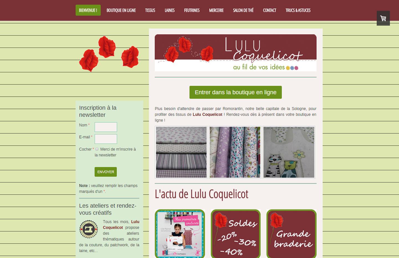 Création du site web, du logo et des réseaux sociaux pour Lulu Coquelicot, magasin à Romorantin en Sologne ©Dans le 1000, agence de communication web et print à Lassay-sur-Croisne