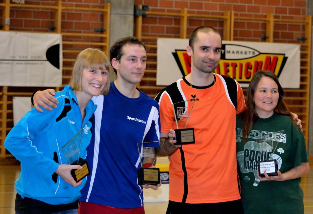 Siegerbild: Ilva Gerber (1. Women), Sascha Gojkovic (1. Open D.), Christian Vogel (2. Open D.), Andrea Martinoni (2. Women)