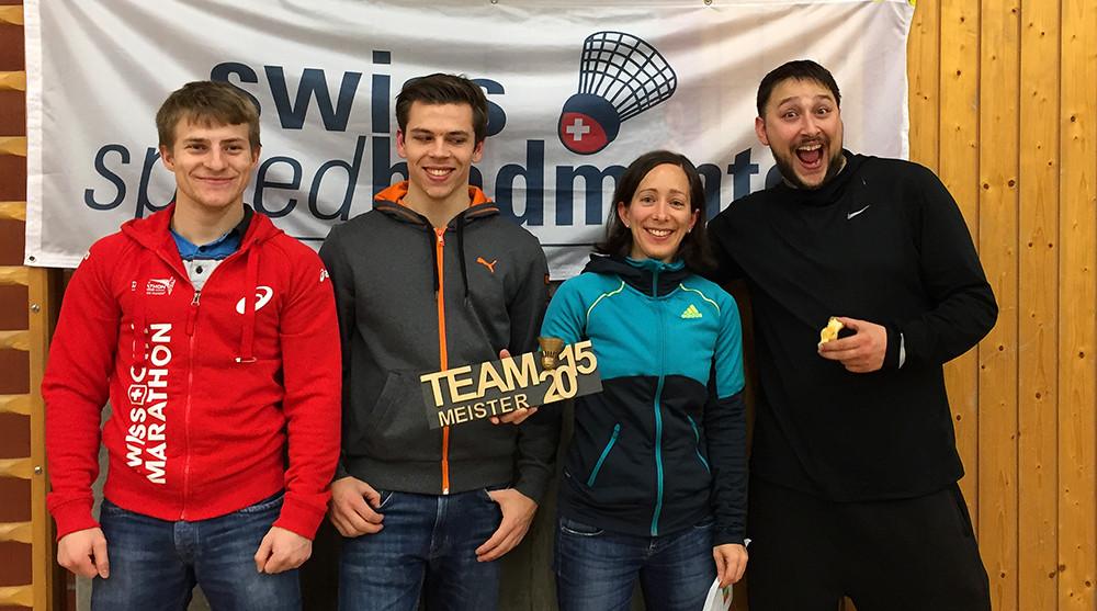 Sieger-Team aus Luzern (Stephan Keck, Stefan Zedi, Claudine Boyer, Remo Bivetti)
