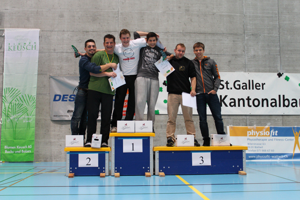 Podest Herren Doppel (v.l.n.r.): 2. Dardan Uka + Michael Stampfli, 1. Ivo Junker + Severin Wirth; 3. Martin Schenker + Stefan Zedi