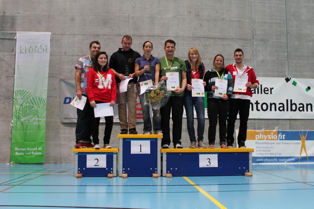 Podest Mixed Doppel (v.l.n.r): 2. Dara + Beat Ladner; 1. Martin Schenker, Claudine Boyer; 3. Michael Stampfli + Ilva Gerber, Romy Lienhard + Michel Buess