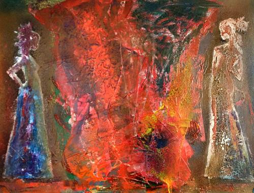 60 cm x 80 cm inkl. Rahmen - Mischtechnik Acryl, Öl, Spray