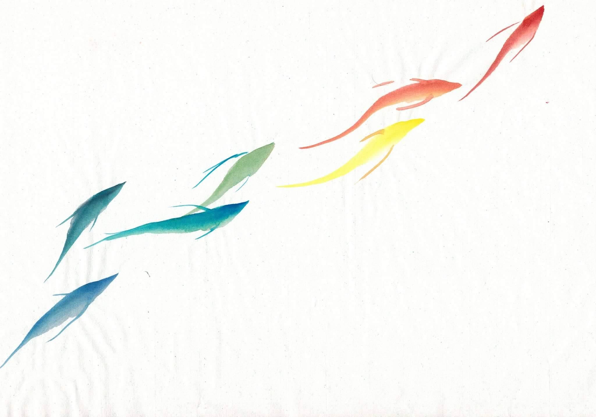 《彩画》虹魚 顔彩