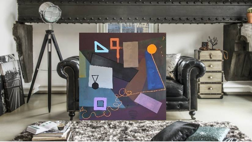 Sfera arancione - tecnica mista su tela 150x150  (2017) opera di Francesco Cannone in ambiente virtuale