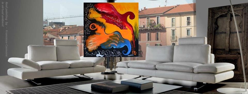 Onde - Acrilico su tela 98x98x4 (2013)  opera di Francesco Cannone in ambiente virtuale