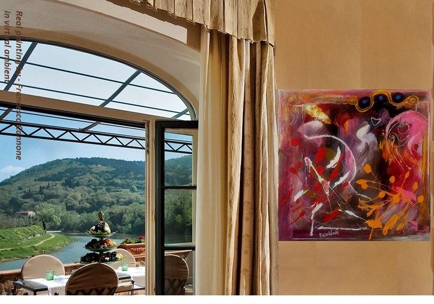 Marisa - Acrilico su tela 58x58x4 (2012)  opera di Francesco Cannone in ambiente virtuale