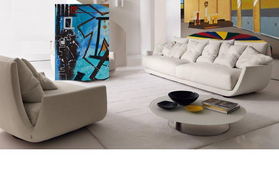 """""""Contatti acquatici"""" Acrilico su tela 98x138x4 (2013)  opera di Francesco Cannone in ambiente virtuale"""