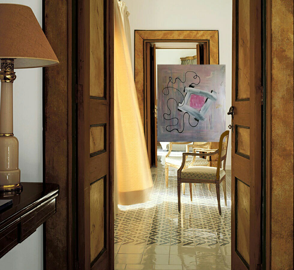 Rosa - acrilico su tela 100x90  (2018)  opera di Francesco Cannone in ambiente virtuale