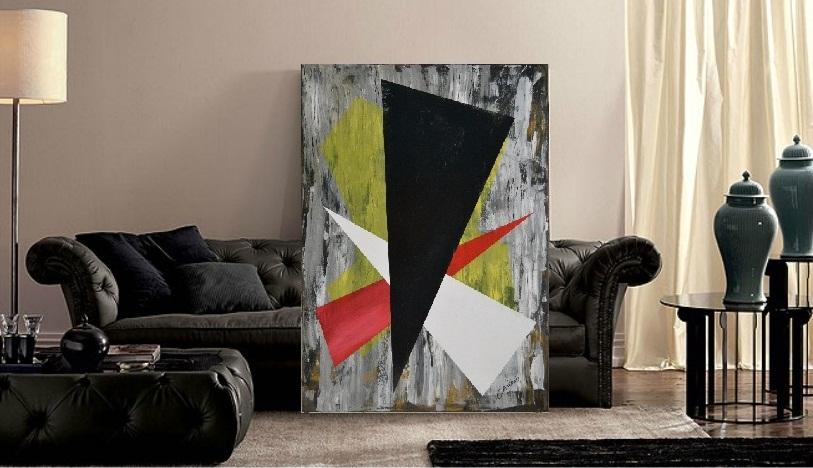 Trittico triangoli - tecnica mista su tela- 138x98x4  (2014)  opera di Francesco Cannone in ambiente virtuale