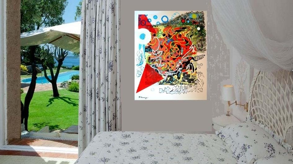 Verso l'amore - tecnica mista su tela (digitale.acrilici.smalti)  (2012)  opera di Francesco Cannone in ambiente virtuale