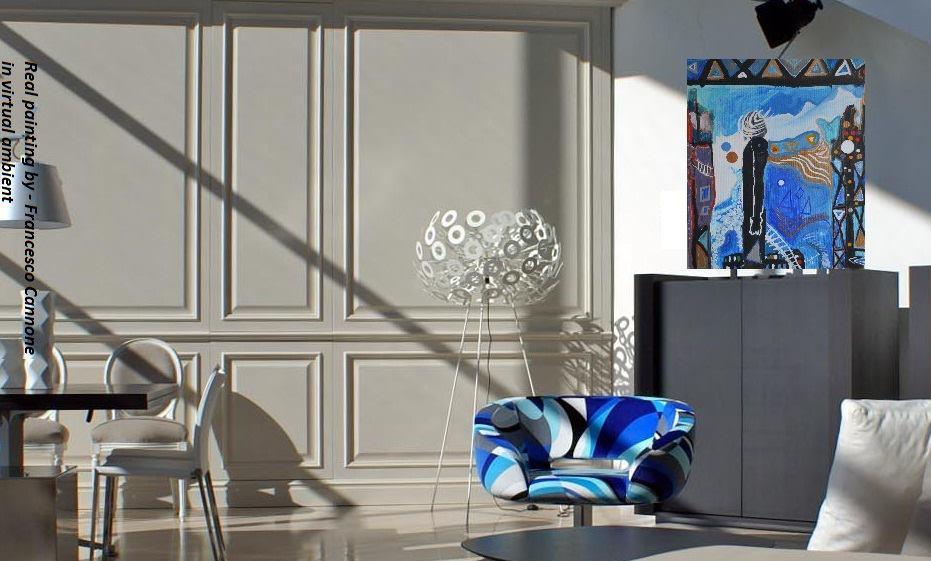 Energie invisibili - acrilico su tela 60x50   opera di Francesco Cannone in ambiente virtuale