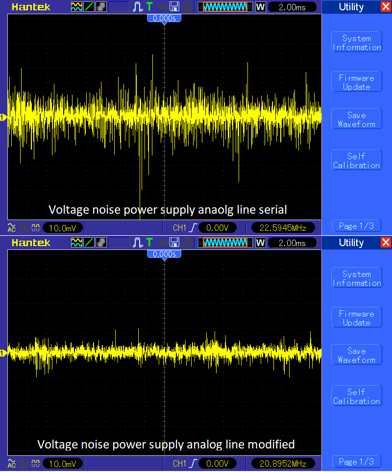 Power supply noise measuremnets before and after