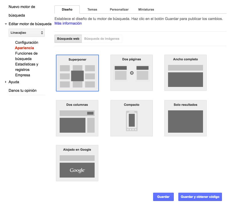 """Elige el diseño Ancho completo o Compacto y haz clic en """"Guardar y obtener código"""""""