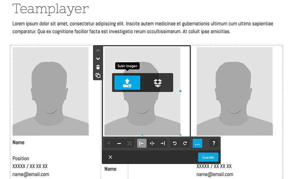 Sustituye los contenidos sugeridos en las estructuras por tus propios textos e imágenes.
