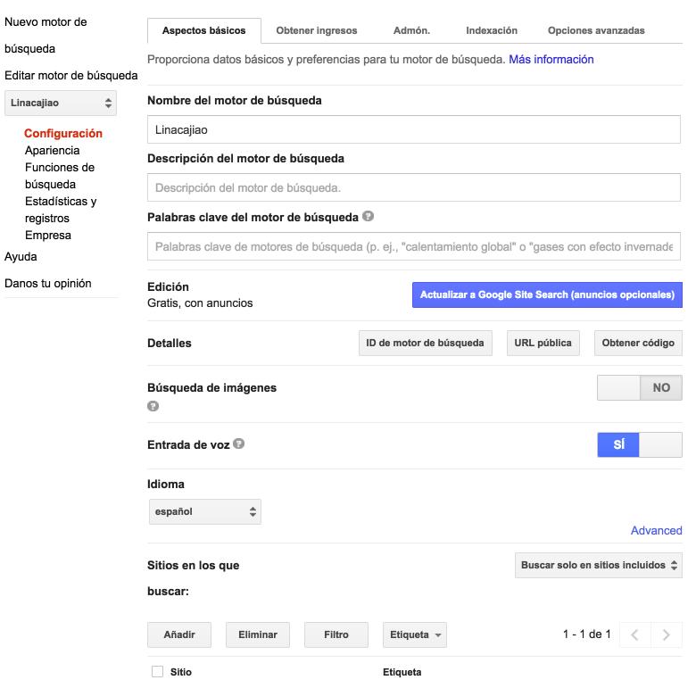 """Accede a """"Editar motor de búsqueda"""" en el menú de la izquierda y haz clic en """"Apariencia"""""""