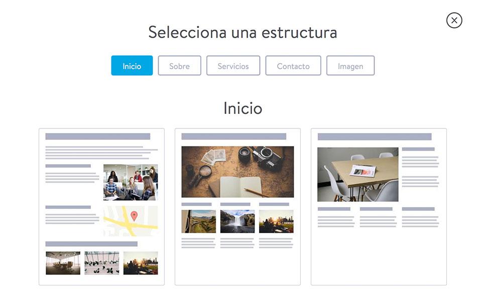 """La estructura """"Inicio"""" es ideal para desarrollar la página de inicio de tu web."""