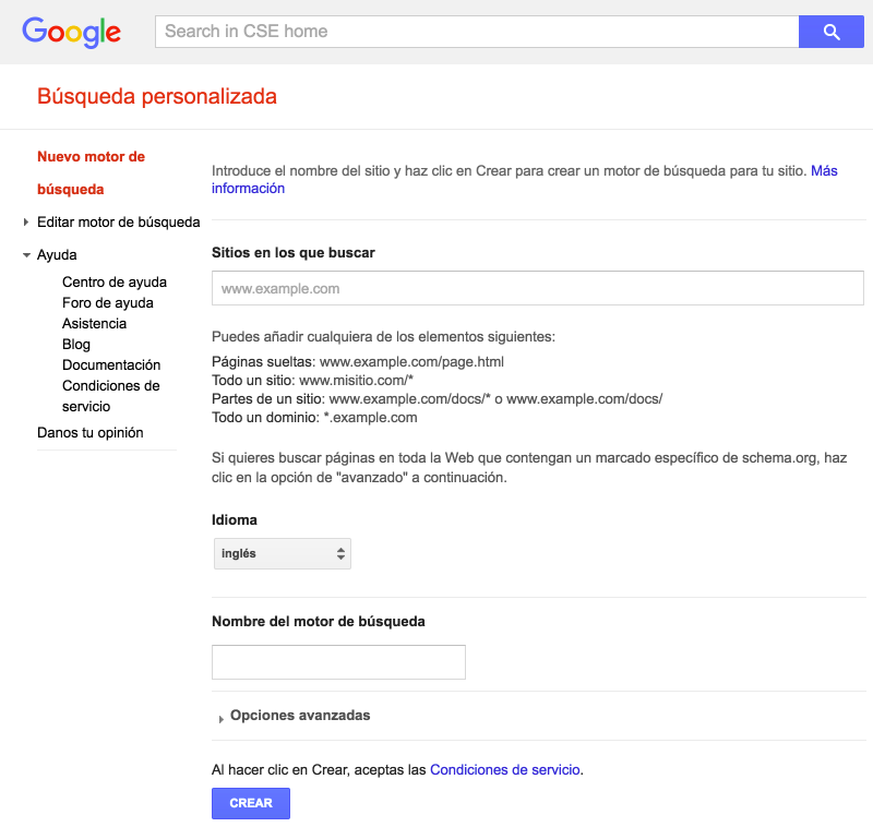 """Introduce la URL de tu web en el campo """"Sitios en los que buscar"""" y selecciona """"Crear"""""""