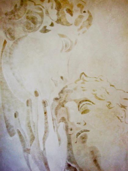 Adonis und Venus, 2,00 x 1,20 m Wandmalerei