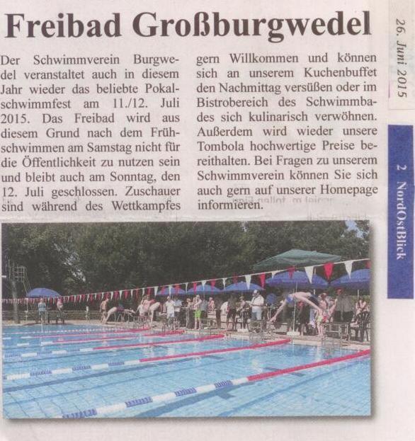 Ankündigung Pokalschwimmfest SV Burgwedel 11./12. Juli 2015 Nord-Ost-Blick