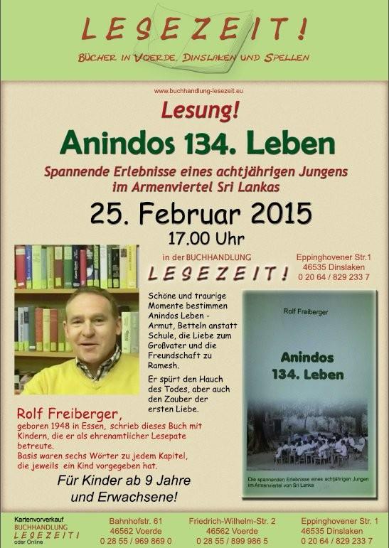 Plakat Buchhandlung Lesezeit, Dinslaken, 25.02.2015