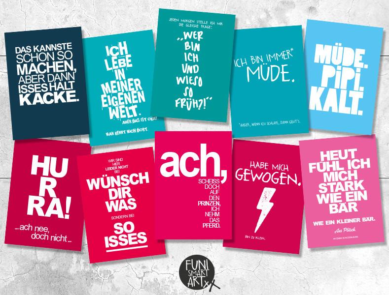 FUNI SMART ART, Postkarten-Set mit 10 Typokarten, Himbeer-Türkis