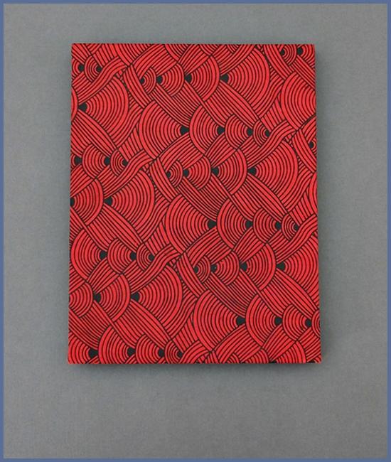 Leporello, Daphne-Papier (Nepal), schwarzer Karton, 12,- €