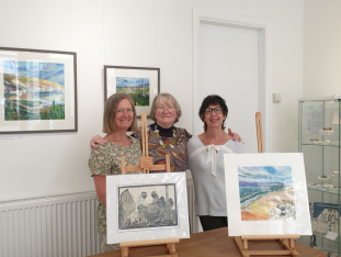 Hannah Hoad, Jenny Morten and Judy Burnett at the opening of the exhibition