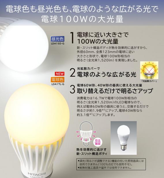 照明器具:LED電球:特長:電球色も昼光色も電球100Wの大光量:日立の家電品