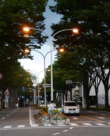 道路照明のLED化が予定されている県庁通り。コスト削減と環境負荷低減に期待がかかる=1日、県庁前