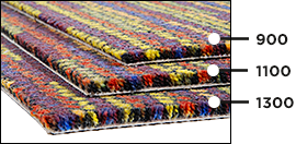 Teppichgrammatur: 900, 1100,1300g/m2
