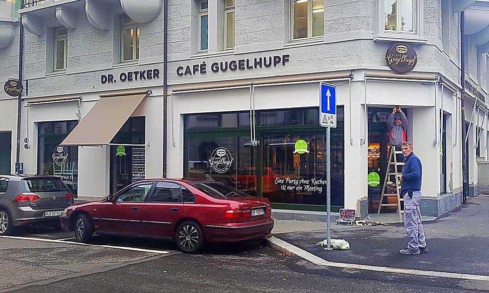 Café Gugelhupf in Luzern 3D Fassadenbeschriftung
