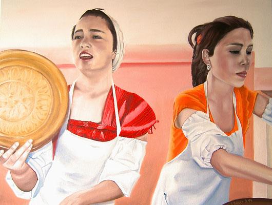 Brotverkäuferinnen in Usbekistan, 90 x 70 cm, Preis Fr. 560.-