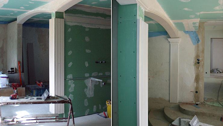 Badezimmer während der ausgeführten Trockenbau- und Stuckarbeiten