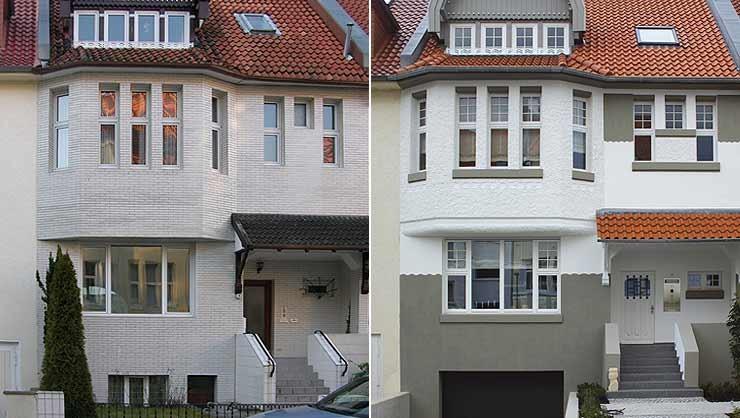 Ansicht vor und nach der rekonstruierten Fassadengestaltung