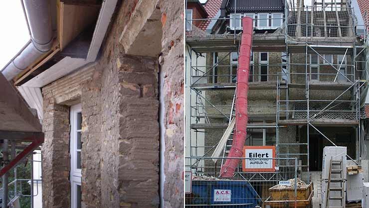 Fragmente des Traufgesimss und der Fensterfasche nach dem Abschlagen des Fliesenbelags
