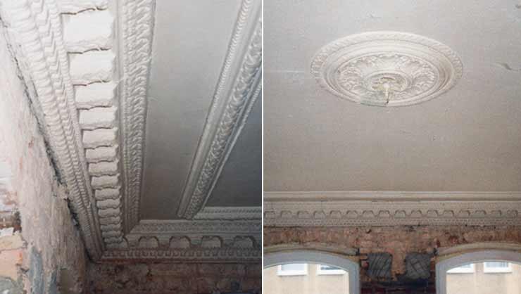 Stuckdetails im Esszimmer vor der Restaurierung