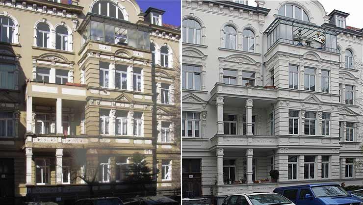 Ansichten vor und nach der Restaurierung